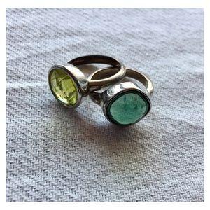 LOFT Beveled Gemstone Pair of Rings